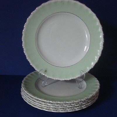 Vintage Grindley Cream Petal - Green - 6 Luncheon Plates - 10 Inches
