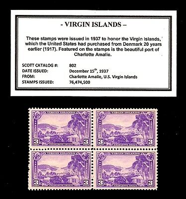 1937 - VIRGIN ISLANDS - #802 - Vintage Mint -MNH- Block of Four Postage Stamps