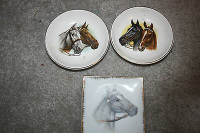 Vintage Horse Equestrian Small Plates Set of 3 Sampson Bridgwood English Bridle