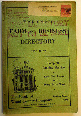 1947-48-49 Wood County,OHIO Farm & Business Directory,foldout MAP of WOOD COUNTY