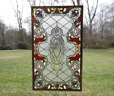 "20.75"" x 34.75"" Stunning Decorative Jeweled Tiffany Style stained glass panel"