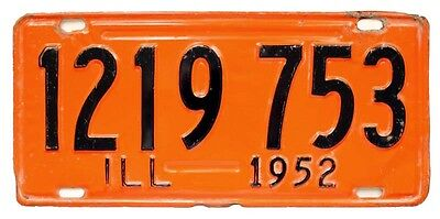 Vintage Orange Illinois 1952 License Plate Wall Sign for Man Cave, Garage, Bar
