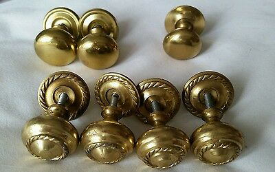 Vintage Various Brass knobs x 7 and backplate approx  1 inch diameter