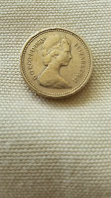 £1. pound coin Queen with long neck 1983