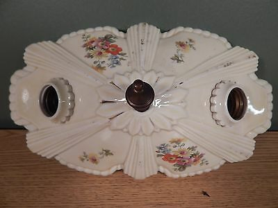 Antique Porcelain Double Bulb Ceiling Fixture Decorated With Flowers