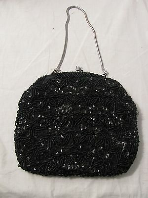 Vintage Style Evening Bag Black Sequined And Beaded