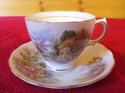 Royal Vale thatched cottage tea cup and saucer