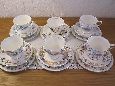 Vintage Bone China Teaset - Colclough and more - 6 x Trios