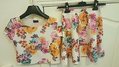 mext floral top and matching skirt age 9