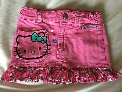Girls Hot Pink Denim Hello Kitty Skirt With Ruffle From H&M Age 3-4.