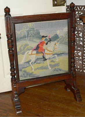 Large Antique Victorian Tapestry Firescreen With Turned Uprights/1880
