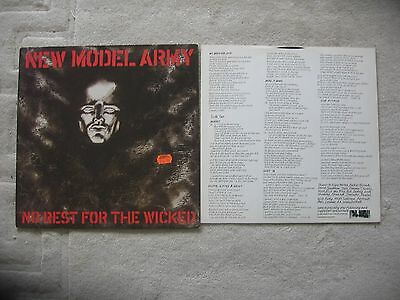 New Model Army - No Rest For The Wicked  Original Vinyl Lp Punk / Post Punk