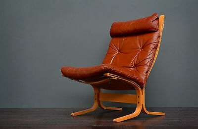 Tall Vintage Retro Mid Century Westnofa Brown Leather Bentwood Chair