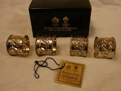 Set of 4 Arthur Price Silver Plated Napkin Rings - Boxed