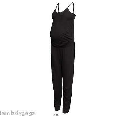 Brand New H&M Maternity Stretch Black Wrap Front Jumpsuit all in one size SMALL