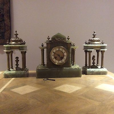 Antique Onyx Clock Garniture. Samuel Marti Working Order