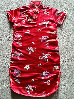 Girl's Red Floral Oriental Chinese Cheong-sam Dress - Size 6 - BNWOT