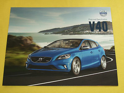 Volvo V40 hatch official dealer paper brochure April 2013 MINT condition