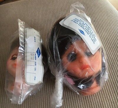 VINTAGE 3 INCH And 4 INCH PLASTIC DOLLS FACE FOR DOLL MAKING BY GOODWEAR