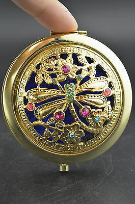 China Decorated Copper Carving Flower & Dragonfly Rare Unique Usable Mirror