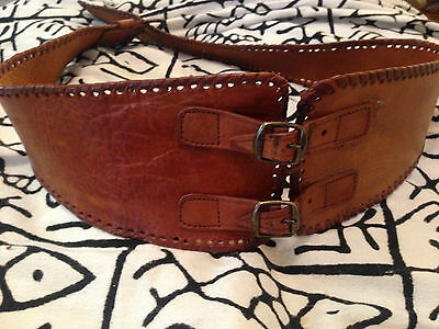 """MOROCCAN 100% Vintage Tanned Bohemian Leather Cinch Buckled Waist Belt 32"""" - 38"""""""