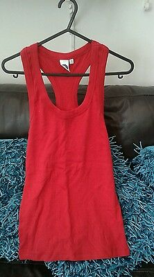 Ladies BNWOT Red Stretchy Vest Top Size L (12) MUST SEE