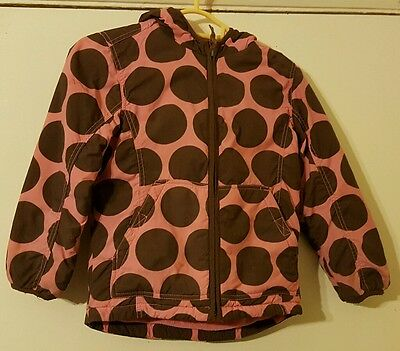 Girls mini boden spotty coat pink with brown spots age 5-6 years