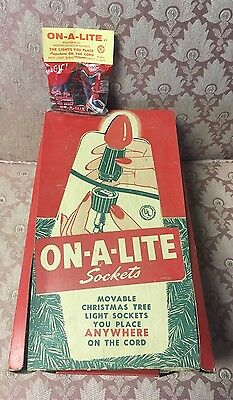 New Old Stock Vintage 1960 ON-A-LITE 3 Light Sockets Christmas Lights
