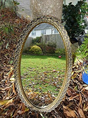 Vintage Oval Mirror Gold Frame Plaster Wall Mirror