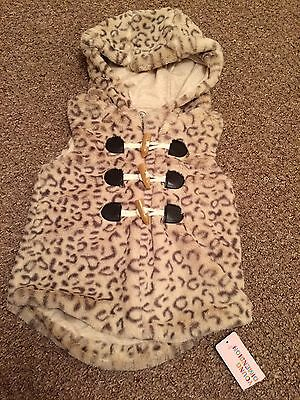 girls fur Gilet age 2-3 hooded body warmer leopard print BNWT