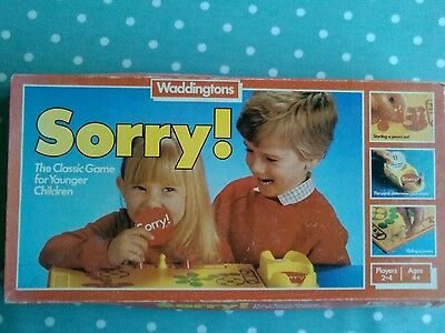 VINTAGE 1980's SORRY BOARD GAME, COMPLETE AND BOXED - 4 years plus .FREE POSTAGE