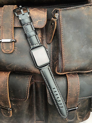 Black Leather Watch Strap Band For Apple Watch 42mm Series 1 2 Black Fixings S8