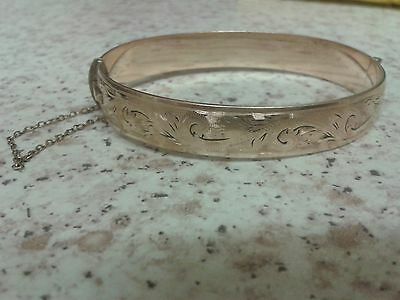 vintage 9ct metal core gold bangle makers mark H.G & S
