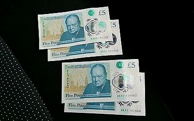 £5 Notes Polymer Unique Bank Of England AA01 AA05 and  two AK47