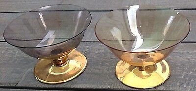 Vintage 2 Coloured Gold Glass Dishes with Gold Bases