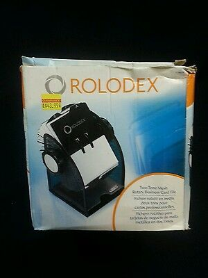 Rolodex 2 Tone Mesh Business Card File with 200 Sleeved Cards & A-Z Index Tabs
