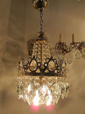 VNT French Pretty Basket Style Crystal Chandelier Lamp Light 1940s 9""