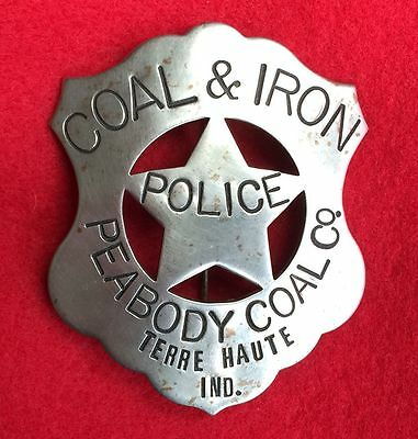 Coal & Iron Police Badge, Peabody Coal Co. Terre Haute, IN Mining, Miners