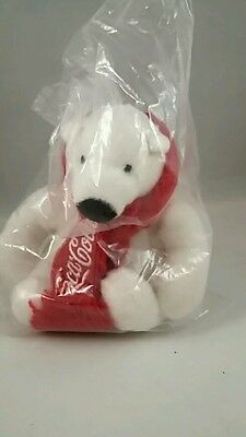 "Coca Cola Polar Bear Plush 6"" Stuffed Animal Red Scarf Holidays Christmas NEW"