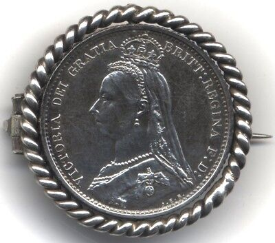 1887 Victoria Sixpence Modified Pin Badge***Collectors***