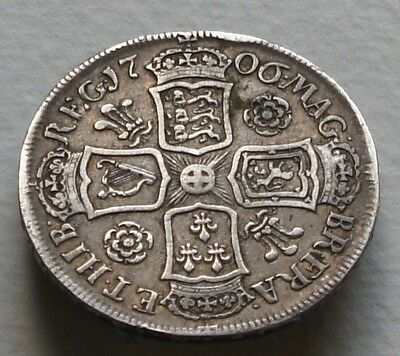 1706 Scarce Queen Anne Silver Half Crown Pre Union -Roses And Plumes -Quinto