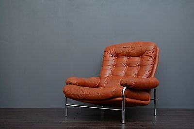 Vintage Retro Mid Century Scandinavian Chrome & Brown Leather Lounge Armchair