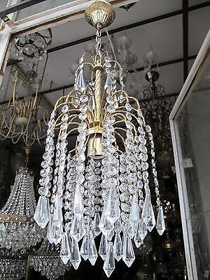 VNT French Pretty Basket Style Crystal Chandelier Lamp Light 1960s 9""