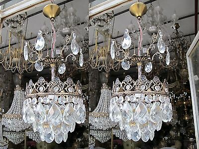 "Pair Of VNT French Pretty Basket Style Crystal Chandelier Lamp Light 1940s 10""Dm"