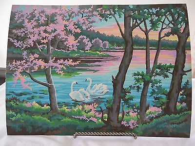 Completed Vintage Paint by Number Picture Swans, Lake 16 x 12