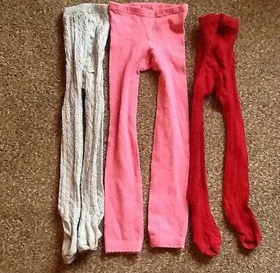 Girls tights bundle age 3-4 2 x cable and pair of footless