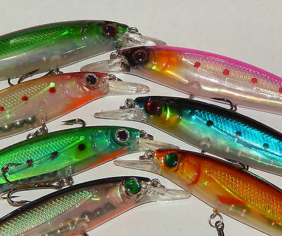 Zander Pike Fishing Lure 110mm Holographic Floating Diving Minnow 7 Colours