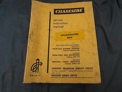 Chaseside Loadmaster 800 Service Manual - Good Condition, Complete