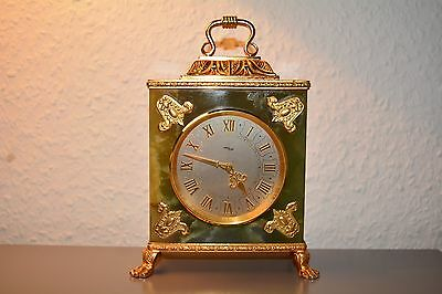 Vintage ,,imhof'' Green Onyx Mantel Clock. Swiss Made. Working Order