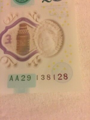 new £5 note AA29 138128